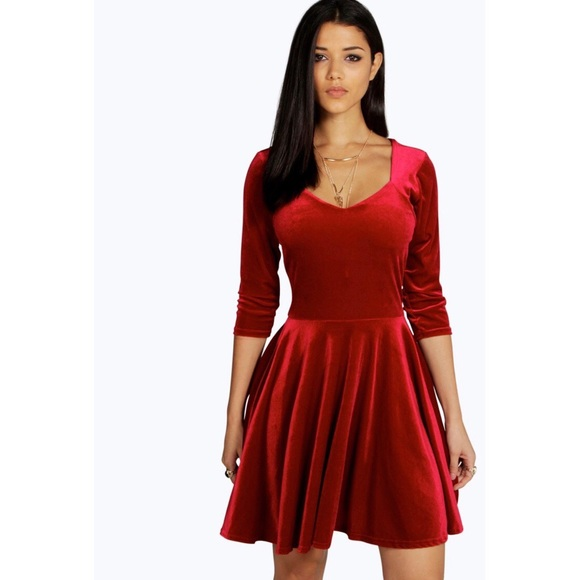 c6fe1ad93ed4 Boohoo Dresses | Red Velvet Sweetheart Neck Skater Dress | Poshmark